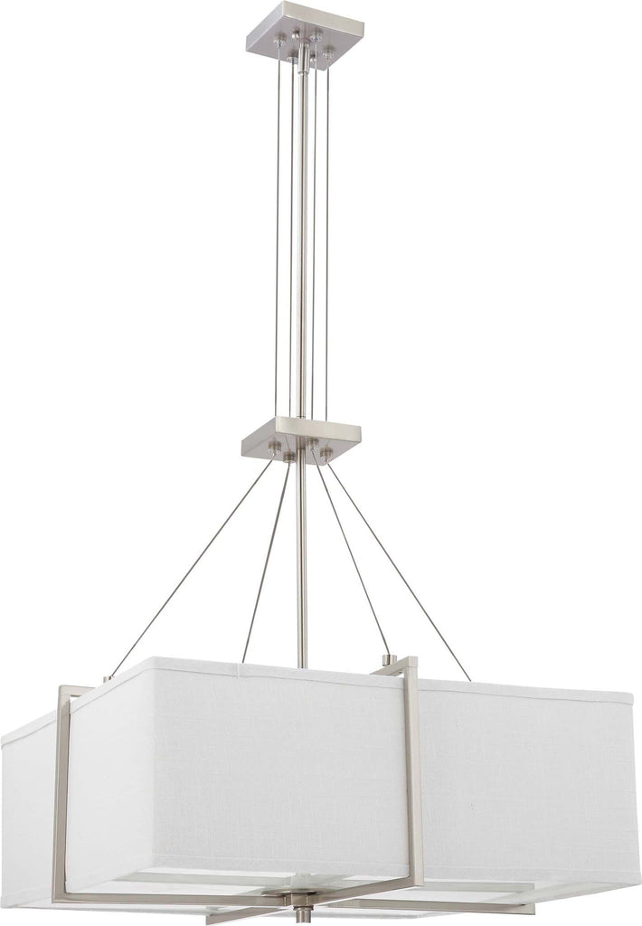 Nuvo Logan - 2 Light Square Pendant w/ Slate Gray Fabric Shade