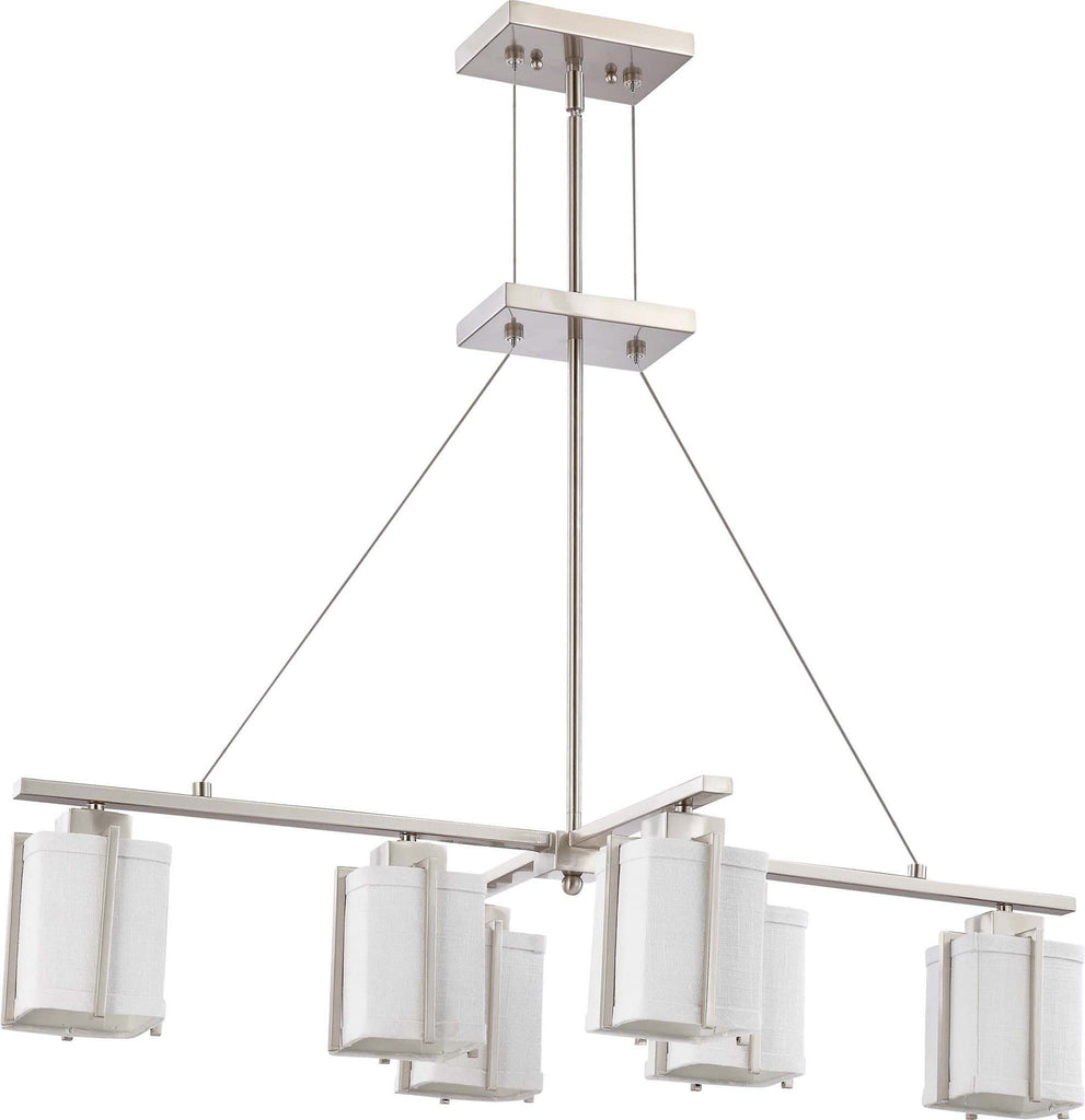 Nuvo Logan - 6 Light Island Pendant w/ Slate Gray Fabric Shade