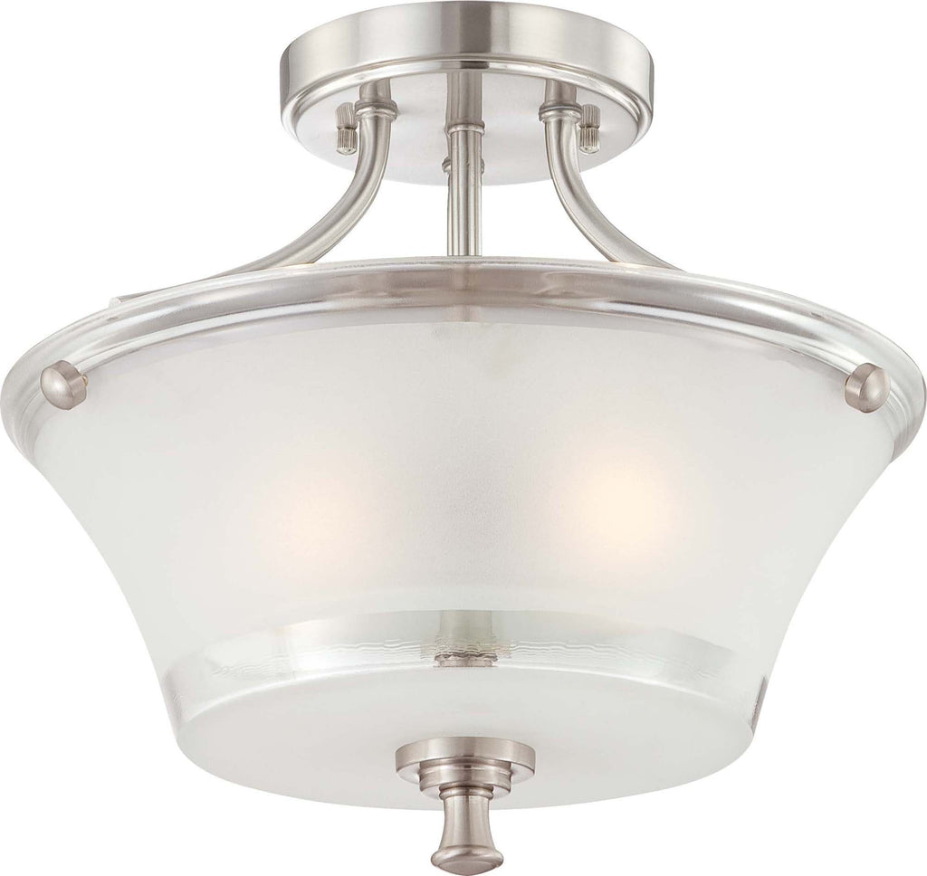 Nuvo Patrone - 2 Light Semi Flush Fixture w/ Clear & Frosted Glass