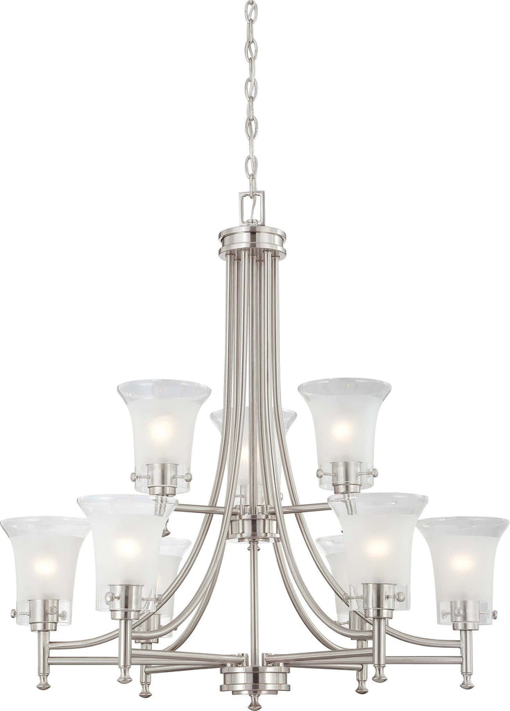 Nuvo Patrone - 9 Light Chandelier w/ Clear & Frosted Glass