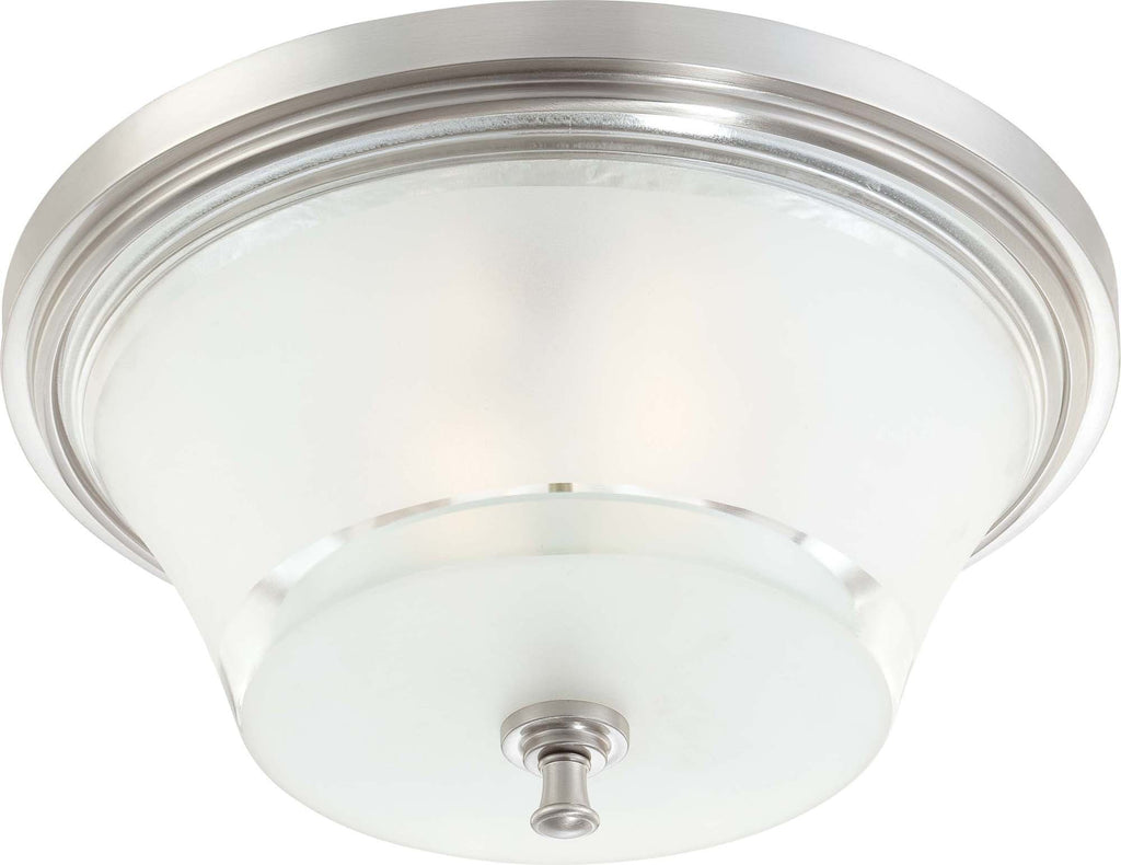 Nuvo Patrone - 3 Light Large Flush Fixture w/ Clear & Frosted Glass