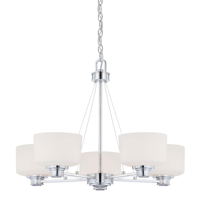 Nuvo Soho - 5 Light Chandelier w/ Satin White Glass