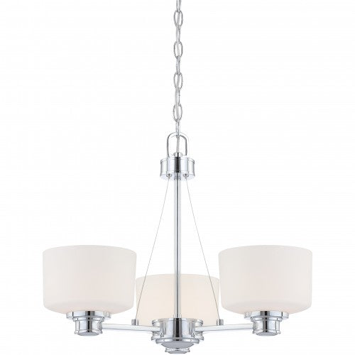 Nuvo Soho - 3 Light Chandelier w/ Satin White Glass