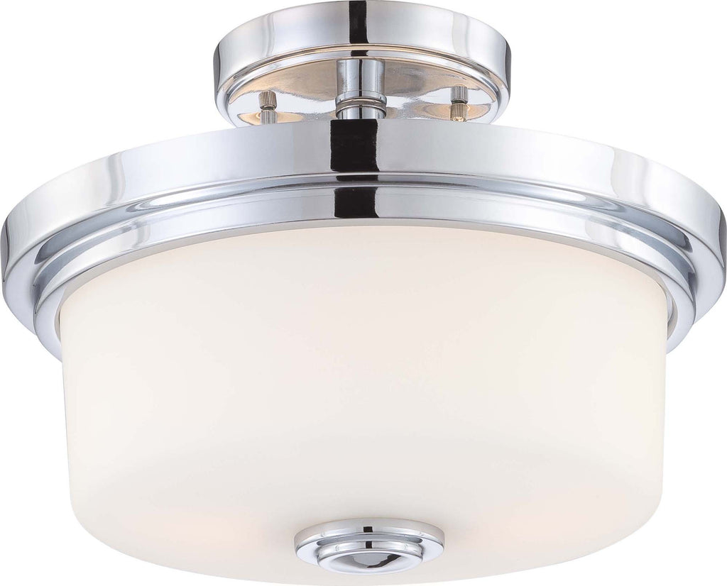 Nuvo Soho - 2 Light Semi Flush Fixture w/ Satin White Glass