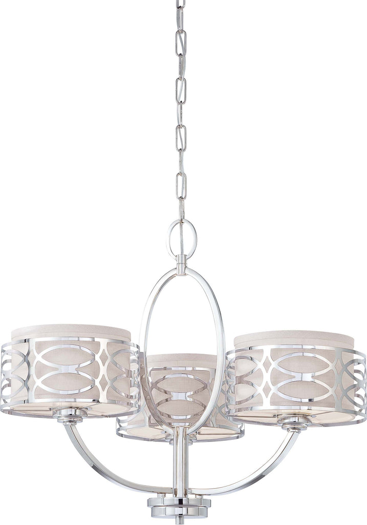 Nuvo Harlow - 3 Light Chandelier w/ Slate Gray Fabric Shades