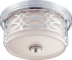 Nuvo Harlow - 2 Light Flush Dome Fixture w/ Slate Gray Fabric Shade