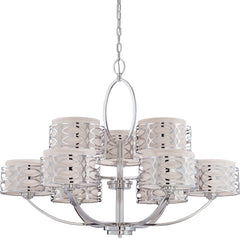 Nuvo Harlow - 9 Light Chandelier w/ Slate Gray Fabric Shades