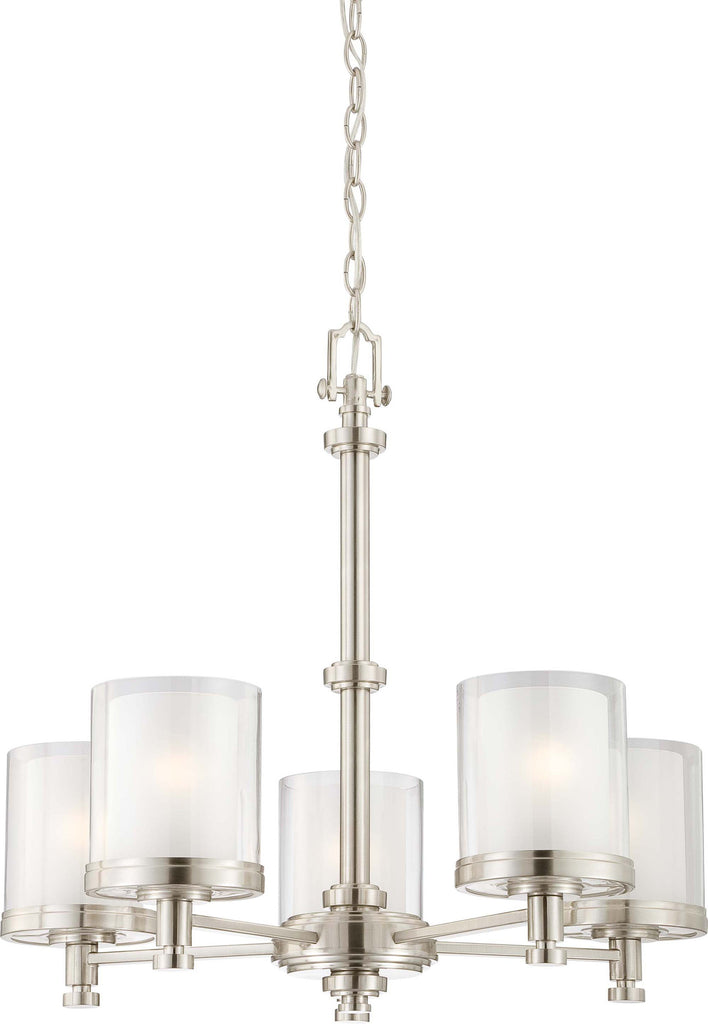 Nuvo Decker - 5 Light Chandelier w/ Clear & Frosted Glass
