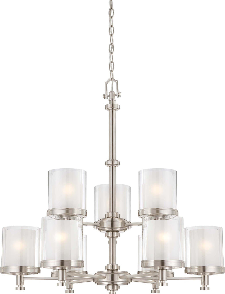 Nuvo Decker - 9 Light Chandelier w/ Clear & Frosted Glass
