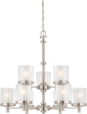 Nuvo Decker - 9 Light Chandelier w/ Clear & Frosted Glass - BulbAmerica