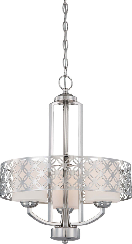 Nuvo Margaux - 3 Light Chandelier w/ Satin White Glass