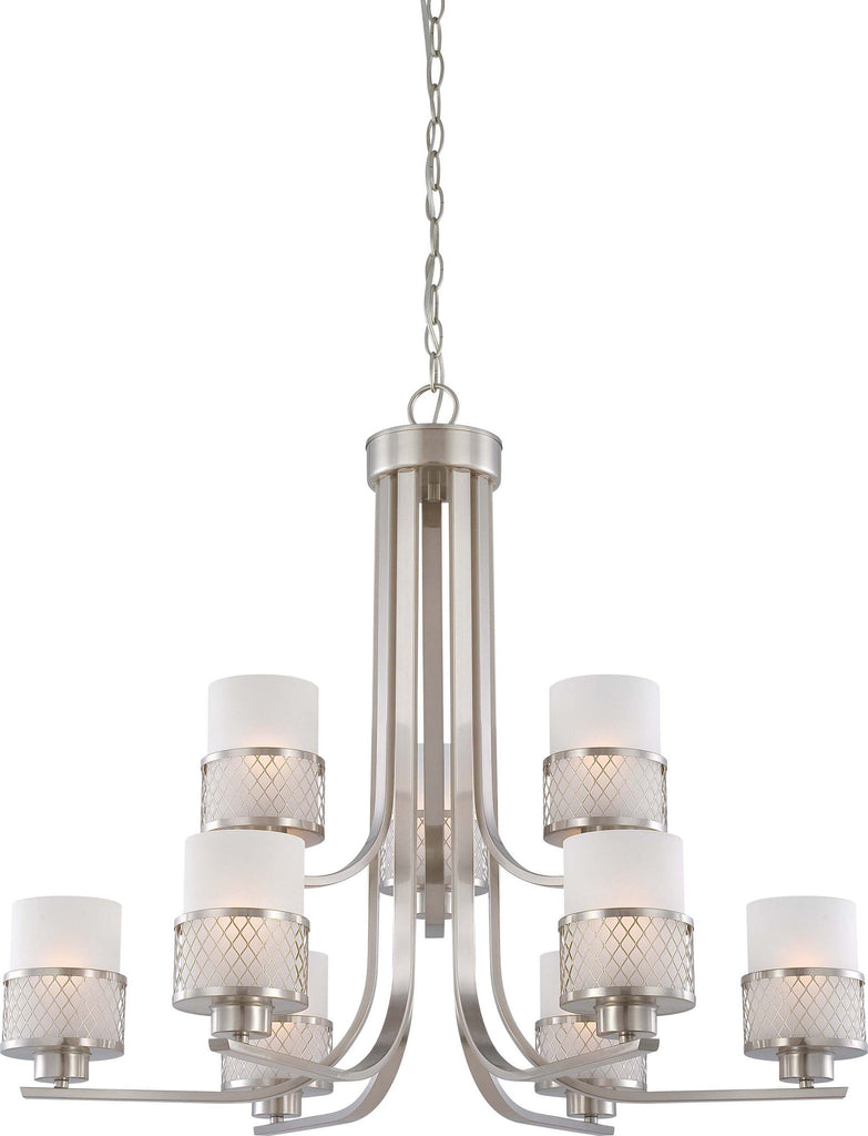 Nuvo Fusion - 9 Light Chandelier w/ Frosted Glass