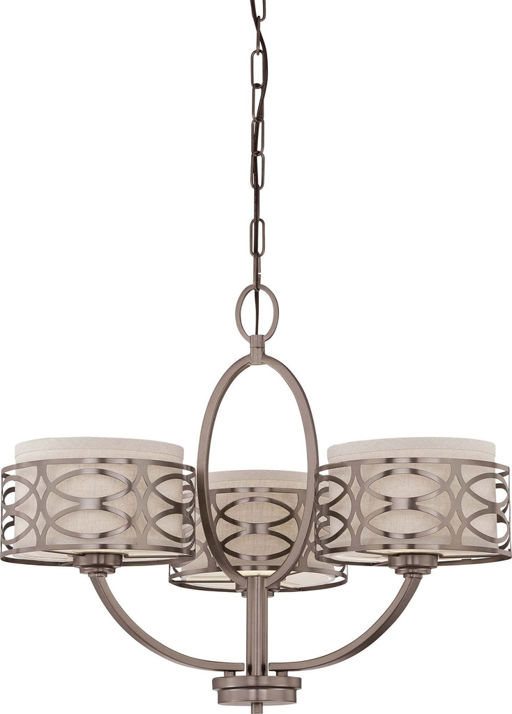 Nuvo Harlow - 3 Light Chandelier w/ Khaki Fabric Shades