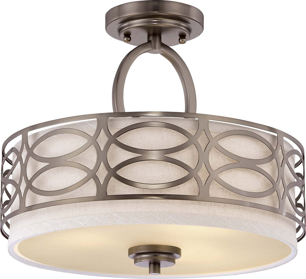 Nuvo Harlow - 3 Light Semi Flush Fixture w/ Khaki Fabric Shade