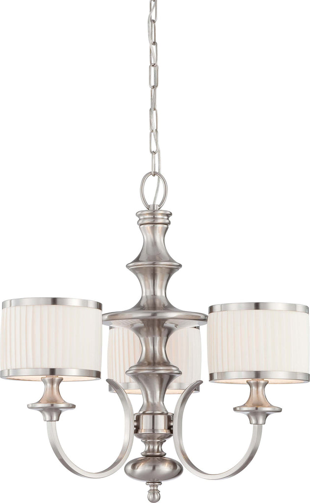 Nuvo Candice - 3 Light Chandelier w/ Pleated White Shades