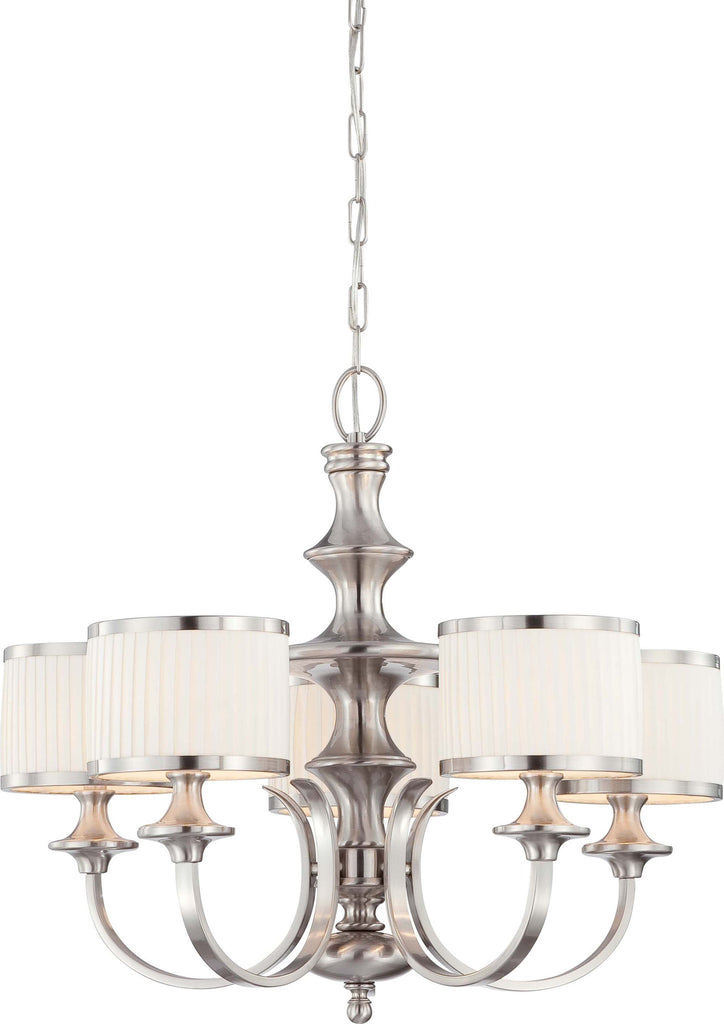 Nuvo Candice - 5 Light Chandelier w/ Pleated White Shades