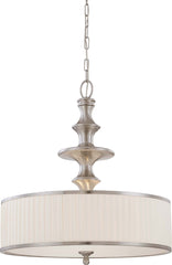 Nuvo Candice - 3 Light Pendant w/ Pleated White Shade