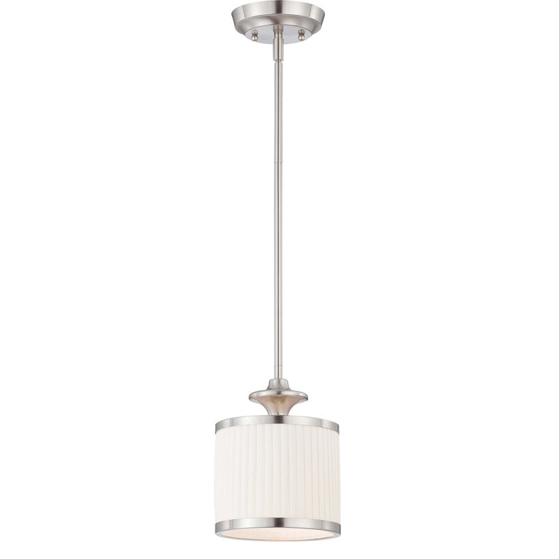 Nuvo Candice - 1 Light Mini Pendant w/ Pleated White Shade