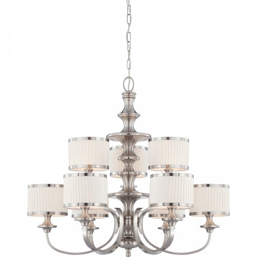 Nuvo Candice - 9 Light Chandelier w/ Pleated White Shades