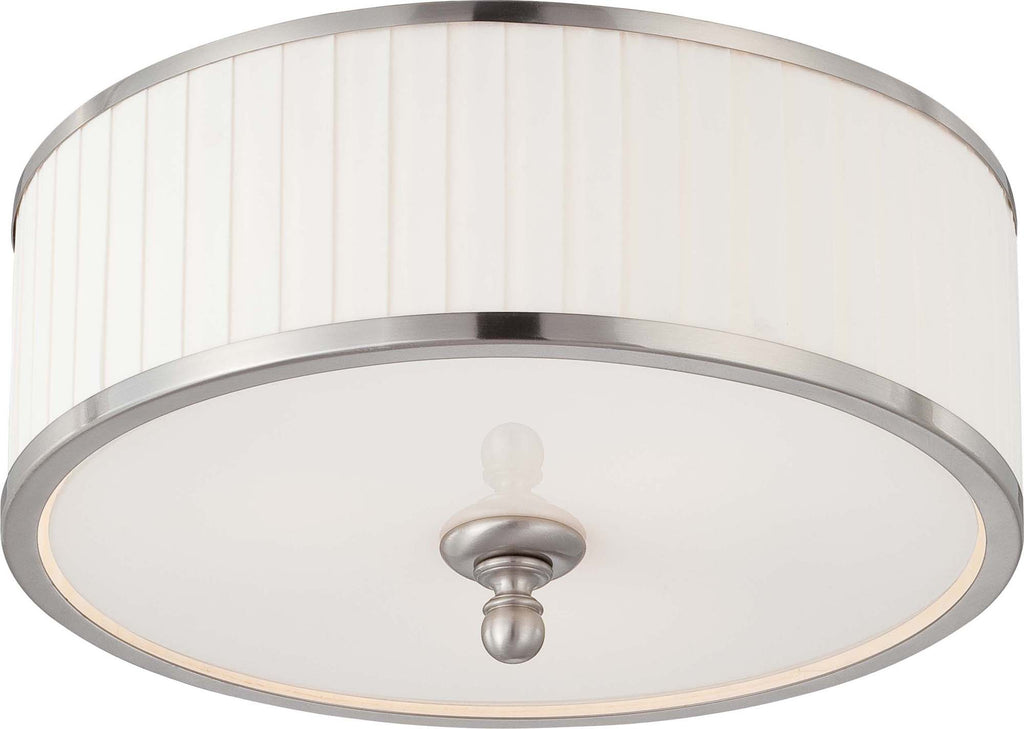 Nuvo Candice - 3 Light Flush Dome Fixture w/ Pleated White Shade
