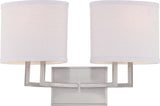 Nuvo Gemini - 2 Light Vanity Fixture w/ Slate Gray Fabric Shades - BulbAmerica