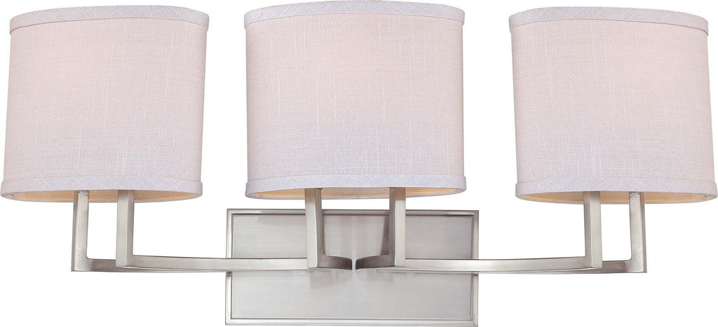 Nuvo Gemini - 3 Light Vanity Fixture w/ Slate Gray Fabric Shades