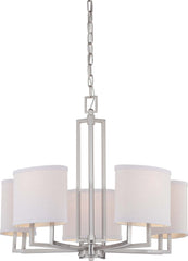 Nuvo Gemini - 5 Light Chandelier w/ Slate Gray Fabric Shades