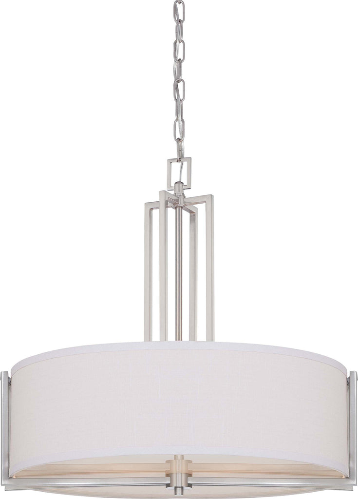 Nuvo Gemini - 4 Light Pendant w/ Slate Gray Fabric Shade