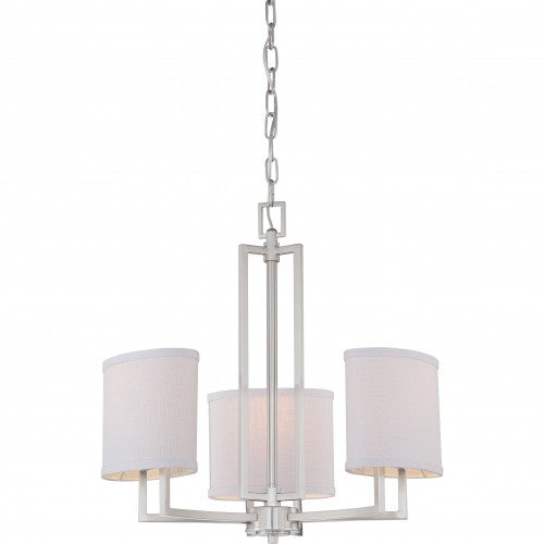 Nuvo Gemini - 3 Light Chandelier w/ Slate Gray Fabric Shades