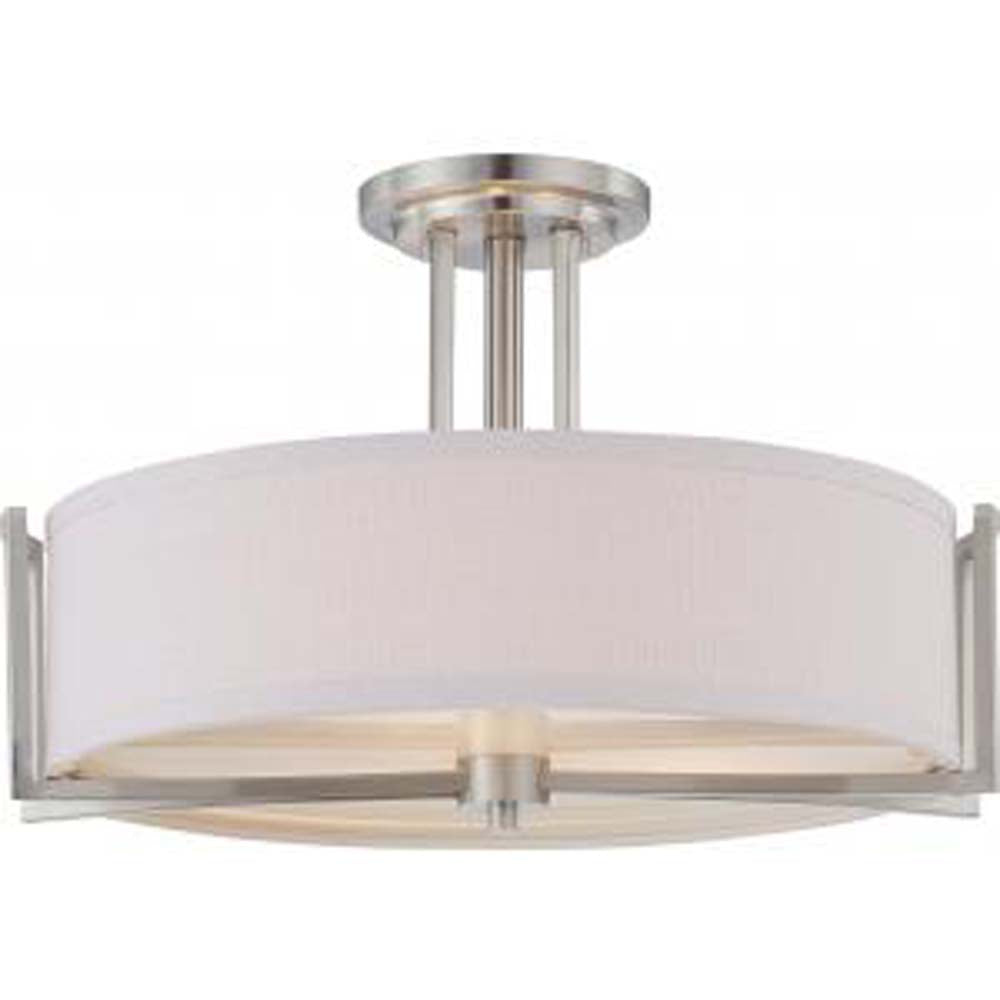 Nuvo Gemini - 3 Light Semi Flush Fixture w/ Slate Gray Fabric Shade