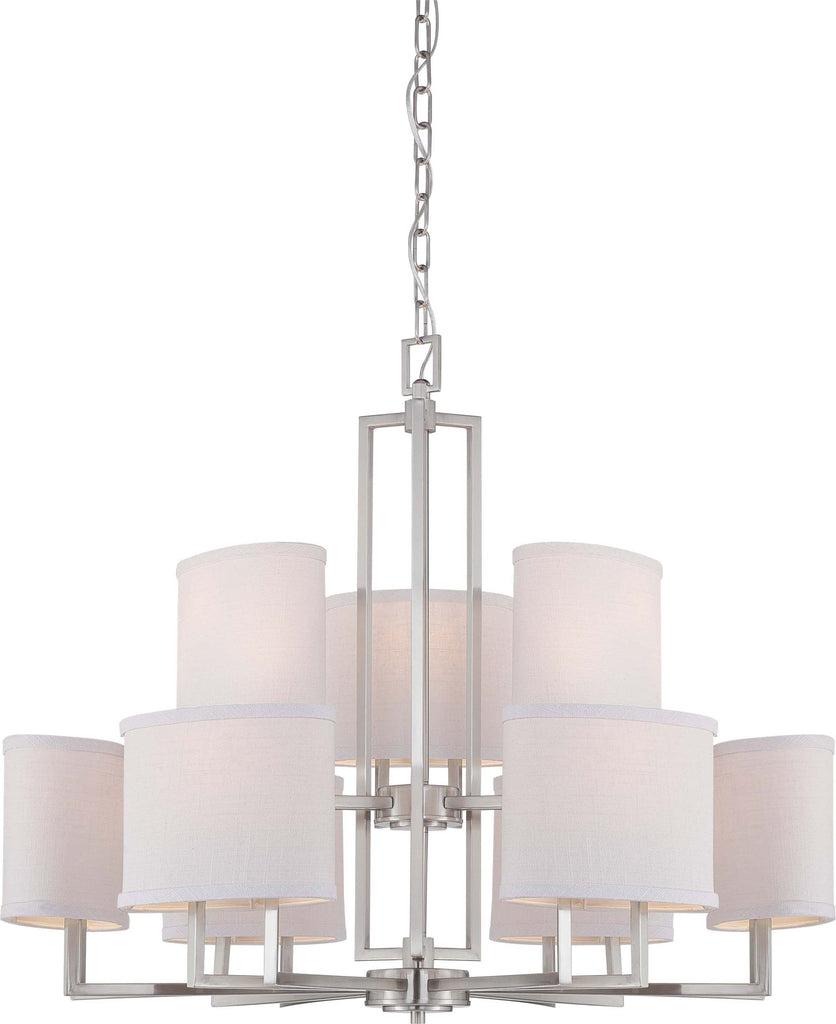 Nuvo Gemini - 9 Light Chandelier w/ Slate Gray Fabric Shades