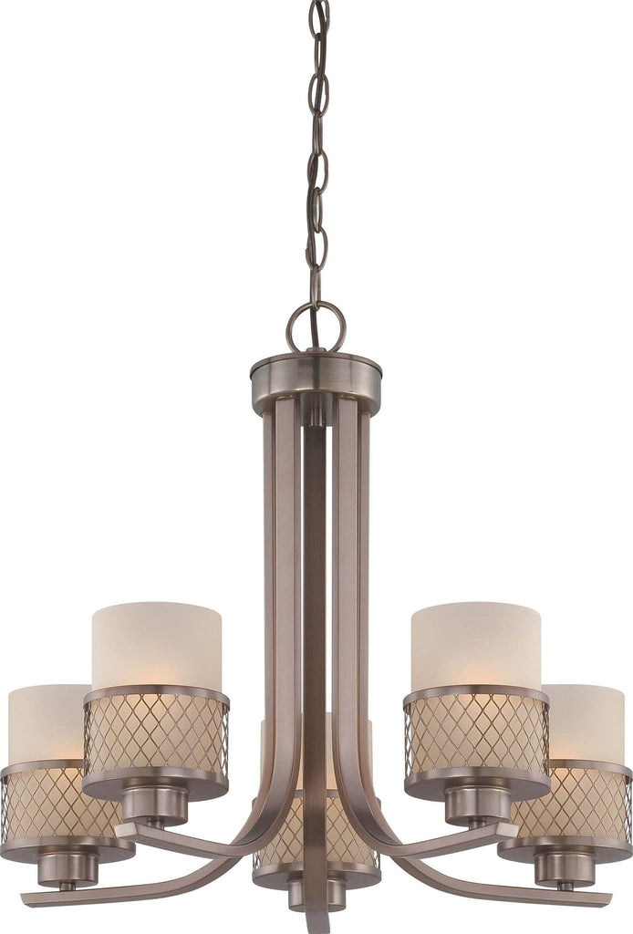 Nuvo Fusion - 5 Light Chandelier w/ Russet Glass