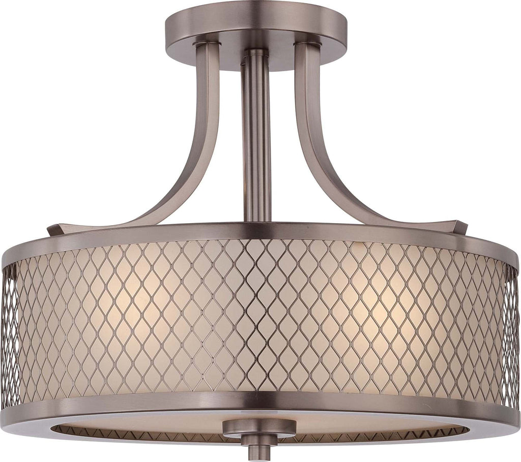 Nuvo Fusion - 3 Light Semi Flush Fixture w/ Russet Glass