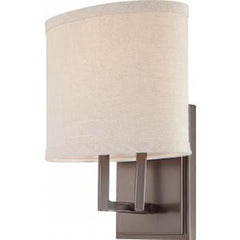 Nuvo Gemini - 1 Light Vanity Fixture w/ Khaki Fabric Shade