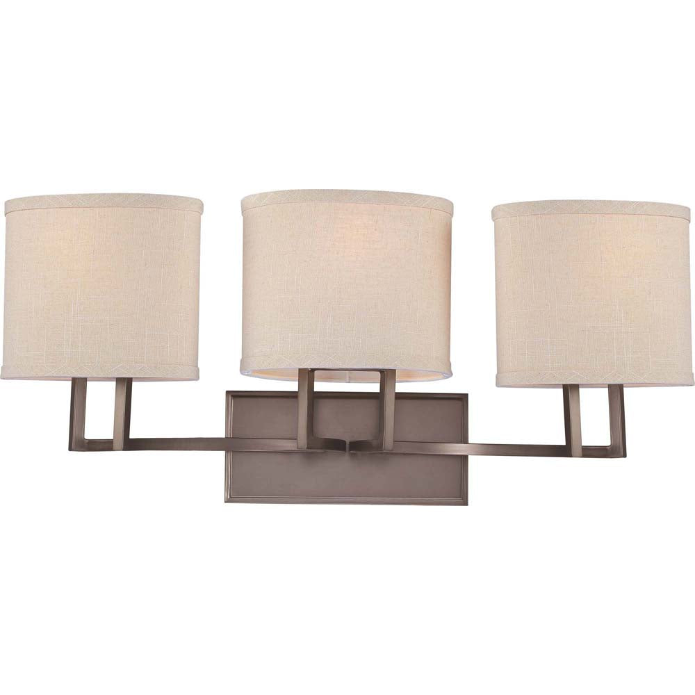 Nuvo Gemini - 3 Light Vanity Fixture w/ Khaki Fabric Shades