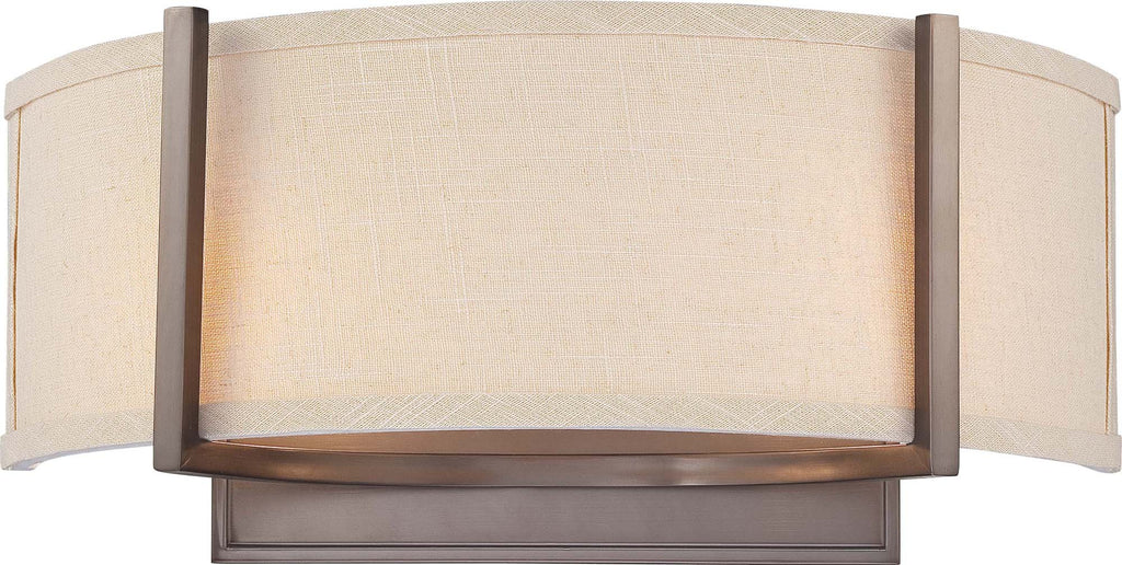 Nuvo Gemini - 2 Light Wall Sconce w/ Khaki Fabric Shade