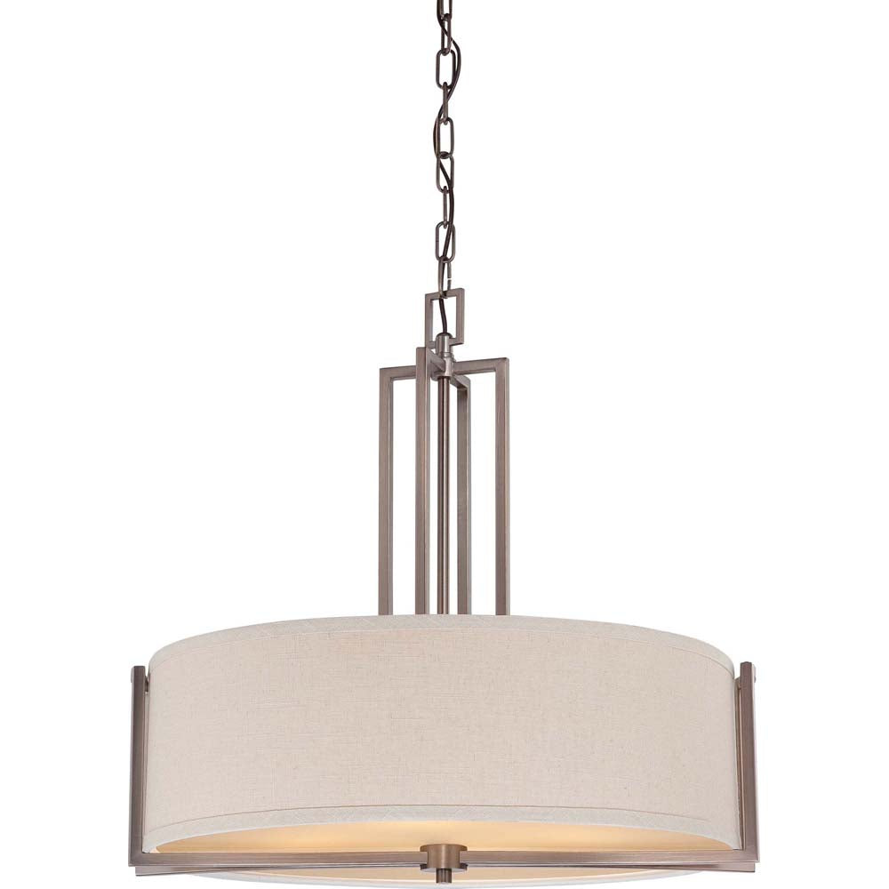 Nuvo Gemini - 4 Light Pendant w/ Khaki Fabric Shade