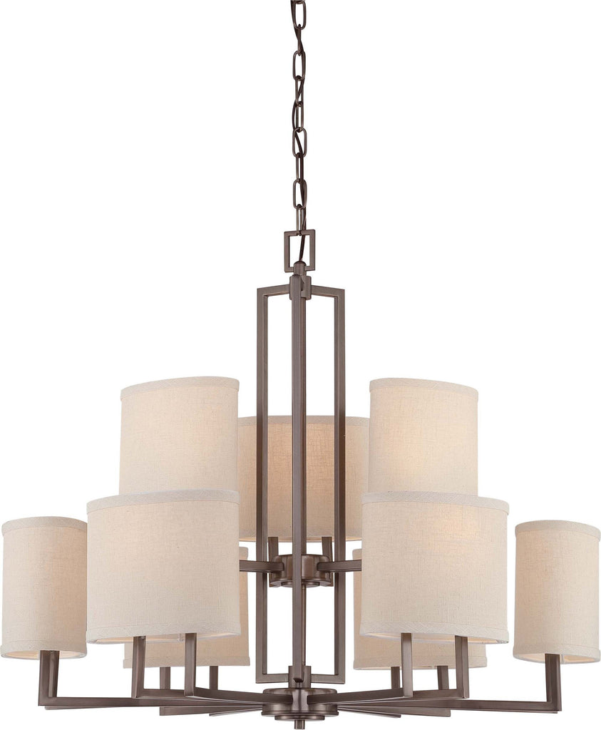 Nuvo Gemini - 9 Light Chandelier w/ Khaki Fabric Shades