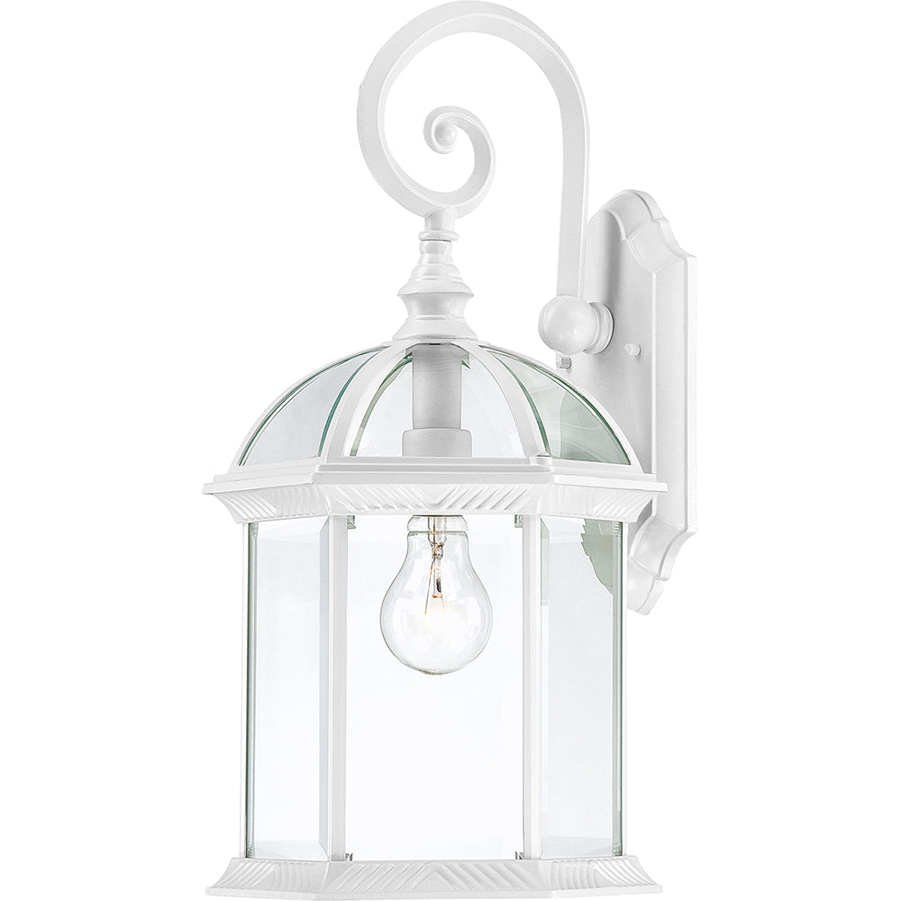 """Nuvo Boxwood 1-Light 19"""" Outdoor Wall Light w/ Clear Glass in White Finish"""