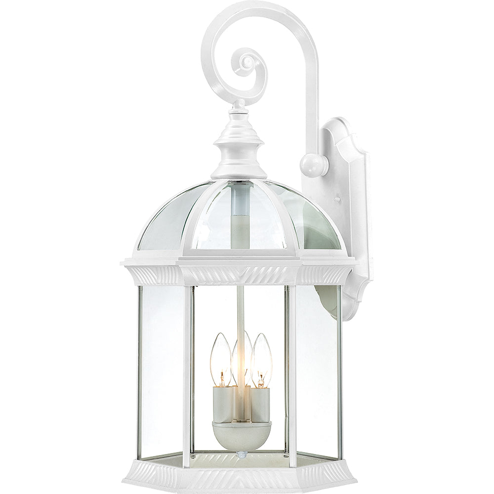 """Nuvo Boxwood 3-Light 26"""" Outdoor Wall Light w/ Clear Glass in White Finish"""
