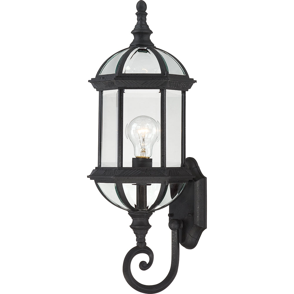 """Nuvo Boxwood 1-Light 22"""" Wall Light w/ Clear Beveled Glass in Textured Black"""