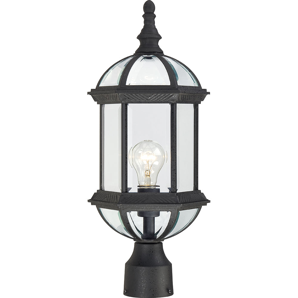 """Nuvo Boxwood 1-Light 19"""" Outdoor Post Lantern w/ Clear Glass in Textured Black"""