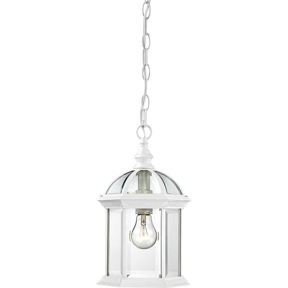 """Nuvo Boxwood 1-Light 14"""" Outdoor Hanging Light w/ Clear Glass in White Finish"""