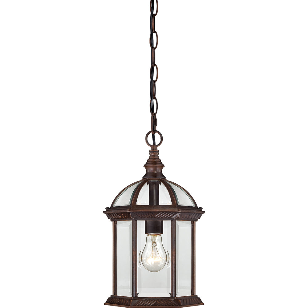 "Nuvo Boxwood 1-Light 14"" Outdoor Hanging Light w/ Clear Glass in Rustic Bronze"