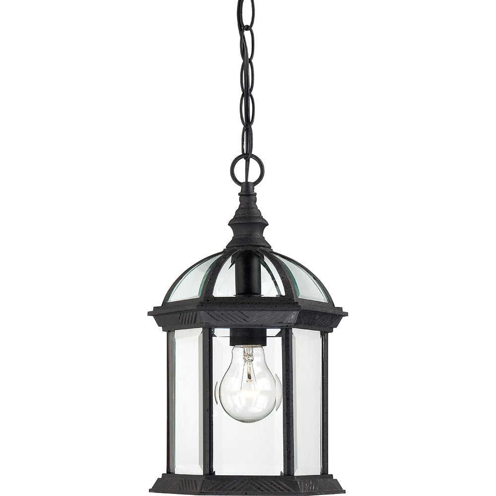 "Nuvo Boxwood 1-Light 14"" Outdoor Hanging Light w/ Clear Glass in Textured Black"