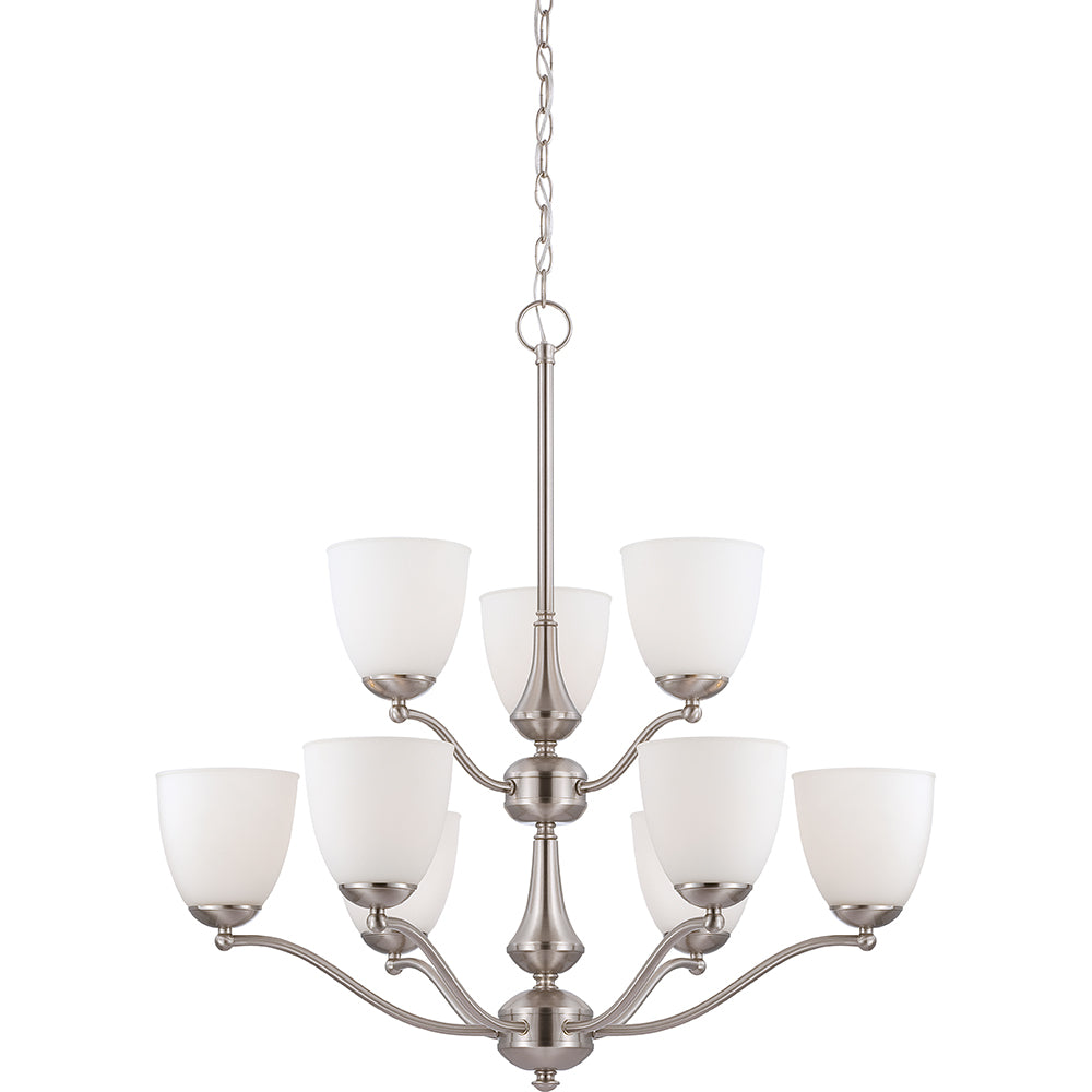Patton - 9 Light - 2 Tier Chandelier w/ Frosted Glass
