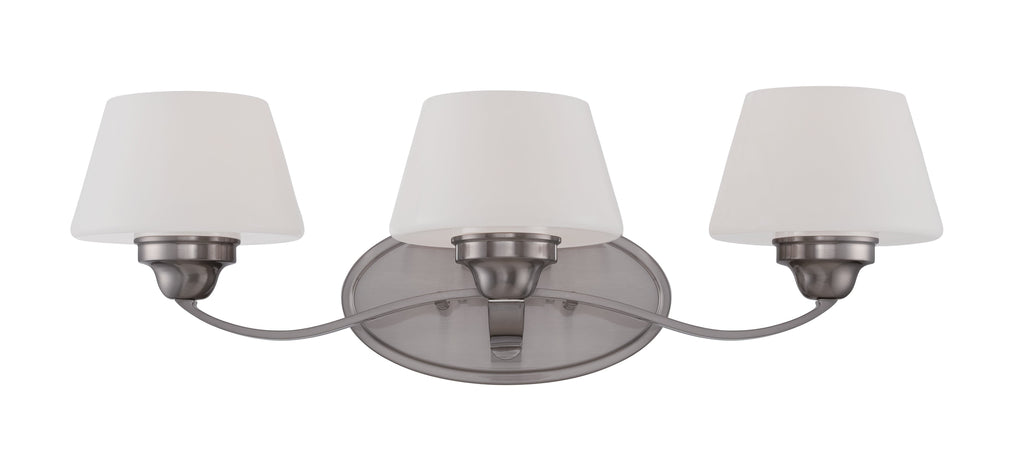 Ludlow - 3 Light Vanity Fixture w/ Satin White Glass
