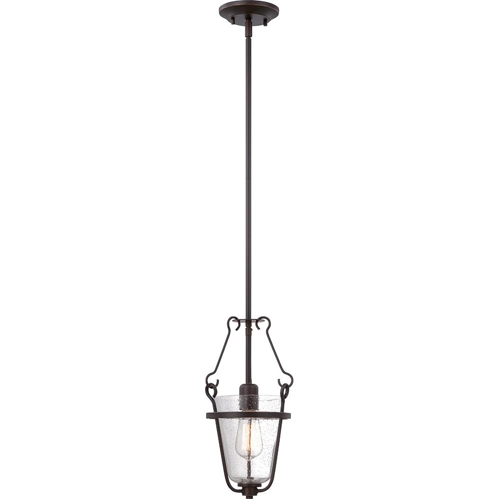 Latham - 1 Light Pendant w/ Clear Seeded Glass - Lamp Included