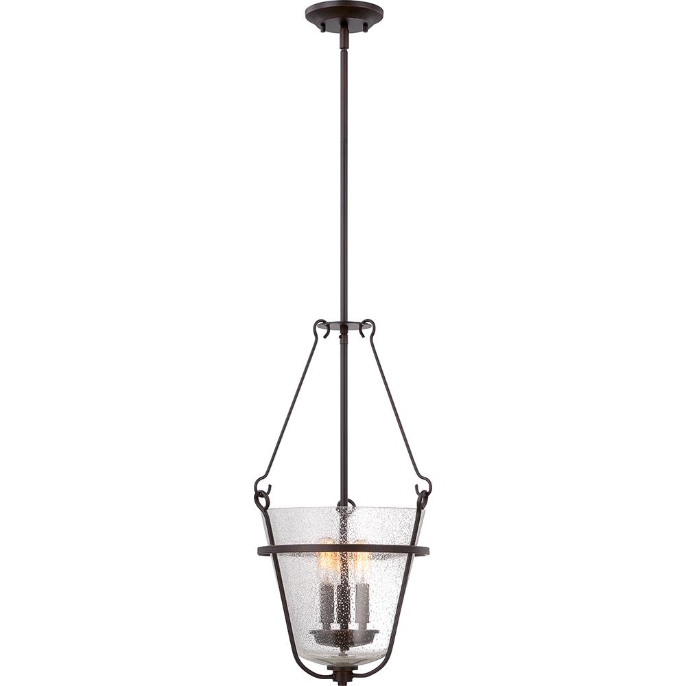 Latham - 3 Light Pendant w/ Clear Seeded Glass - Lamps Included