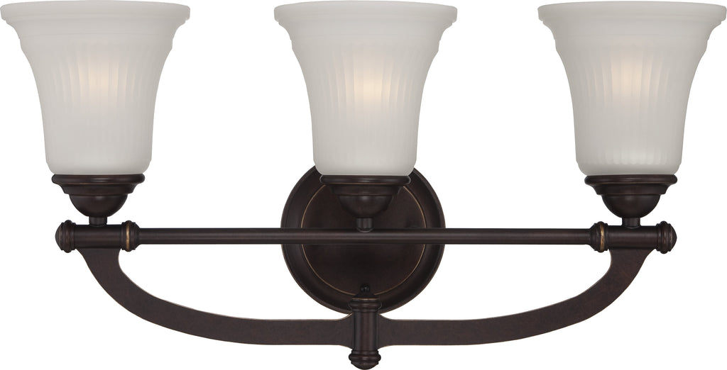Monroe - 3 Light Vanity Fixture w/ Frosted Ribbed Glass